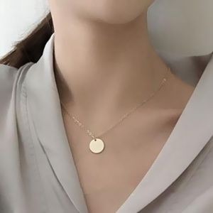 *ADELPHA* Simple Round Gold Pendant Chain Necklace